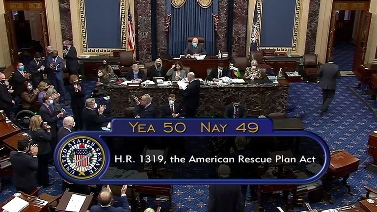 The U.S. Senate passes President Joe Biden's $1.9 trillion COVID-19 relief plan in a party-line vote in Washington, U.S. March 6, 2021 in this still image taken from a video.