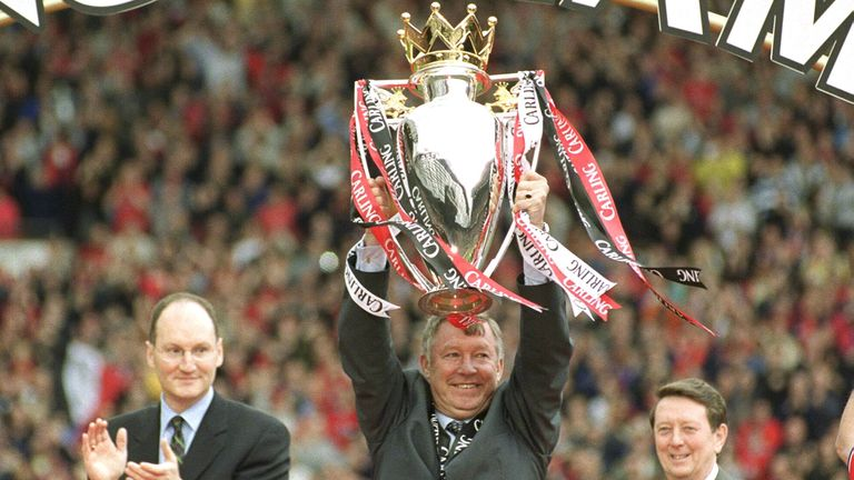 Sir Alex Ferguson lifts the trophy from one of his many Premier League titles. Pic: Action Images/John Sibley