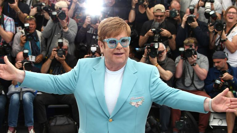 Sir Elton John poses at the photo call for Rocketman in Cannes in 2019. Pic: AP