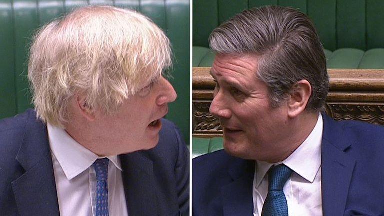Boris Johnson and Sir Keir Starmer clash at PMQs