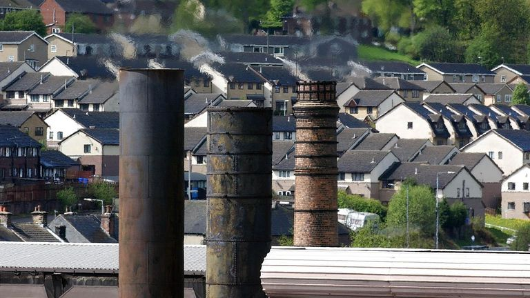 The town of Stocksbridge near Sheffield with the steelworks in the foreground. Shoppers and business owners in area said, they were not surprised by the announcement that Corus is to close its huge steel plant there 29/4/03