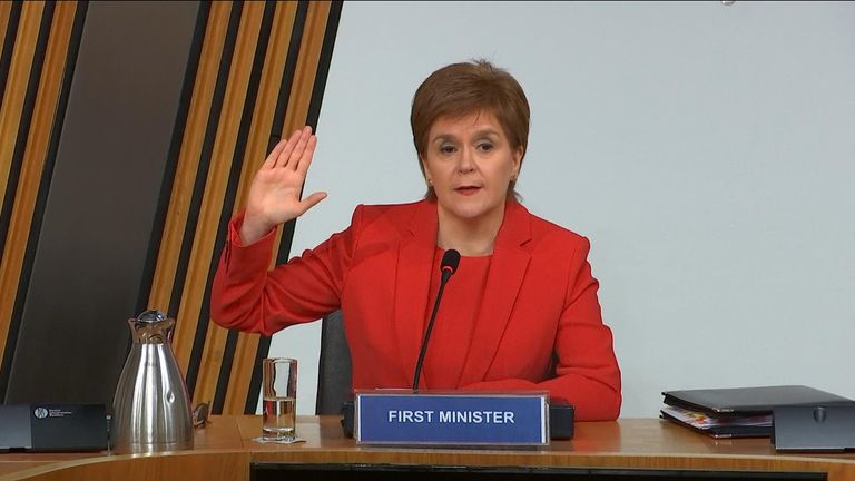First Minister of Scotland, Nicola Sturgeon, gives an oath before giving evidence to the committee