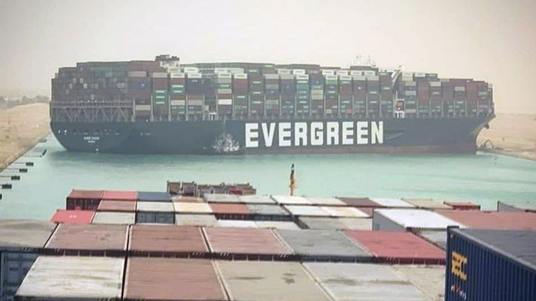 *******DO NOT USE*******££££££££££££££££££££££££  Suez Canal blocked as container ship runs aground. Pic: STR/EPA-EFE/Shutterstock