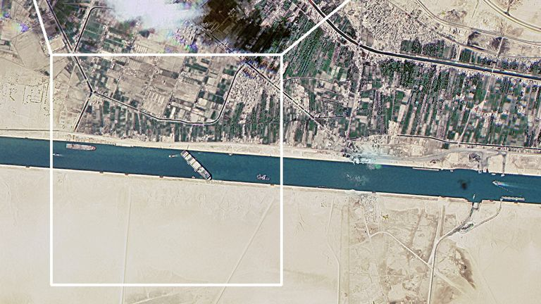 A satellite image shows the Suez Canal blocked by the stranded container ship Ever Given in Egypt March 25, 2021, in this image obtained from Twitter page of Director General of Roscosmos Dmitry Rogozin. Picture taken March 25, 2021. Roscosmos/Handout via REUTERS ATTENTION EDITORS - THIS IMAGE HAS BEEN SUPPLIED BY A THIRD PARTY. MANDATORY CREDIT. THIS IMAGE WAS PROCESSED BY REUTERS TO ENHANCE QUALITY, AN UNPROCESSED VERSION HAS BEEN PROVIDED SEPARATELY.