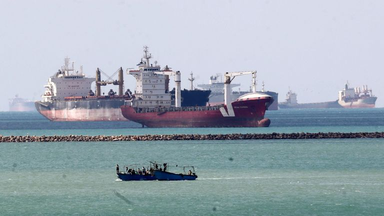 Ships and boats are seen at the entrance of Suez Canal, which was blocked by stranded container ship Ever Given that ran aground, Egypt March 28, 2021. REUTERS/Mohamed Abd El Ghany/File Photo