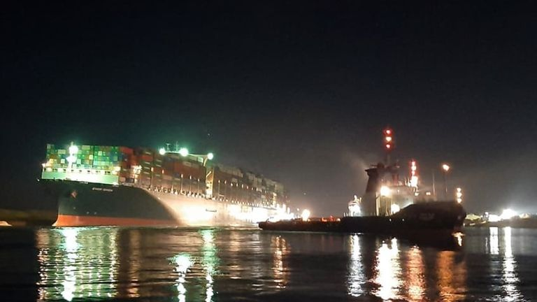 Images show the giant container ship after it was finally dislodged enough for other vessels to pass. Pic: Suez Canal Authority