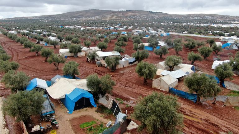Tents housing displaced Syrians near the Syrian-Turkish border