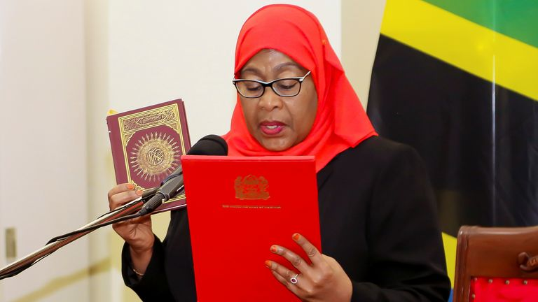 Tanzania's new President Samia Suluhu Hassan takes oath of office following the death of her predecessor John Pombe Magufuli at State House in Dar es Salaam Tanzania's new President Samia Suluhu Hassan takes oath of office following the death of her predecessor John Pombe Magufuli at State House in Dar es Salaam, Tanzania March 19, 2021. REUTERS/Stringer