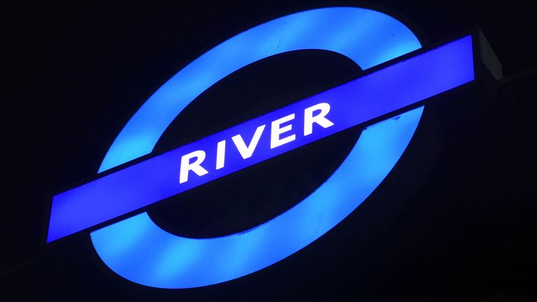 A Thames River Bus service sign on the River Thames in central London. River Bus services are operated by MBNA Thames Clippers. 25/4/2019