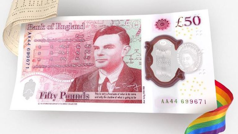 The new £50 banknote has been unveiled, featuring Alan Turing. Pic: Bank of England