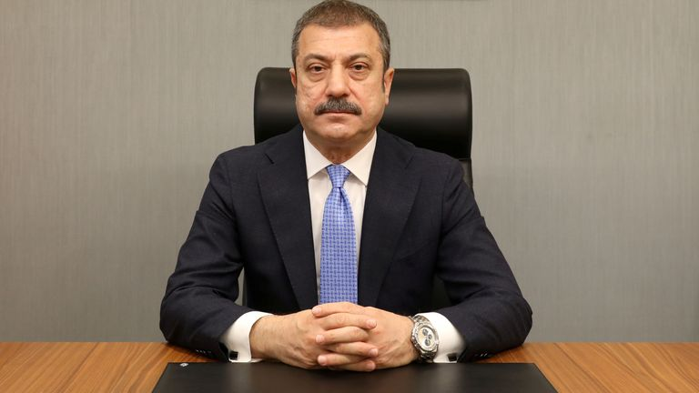FILE PHOTO: Turkey's new Central Bank Governor Sahap Kavcioglu sits at his office in Ankara, Turkey March 21, 2021.