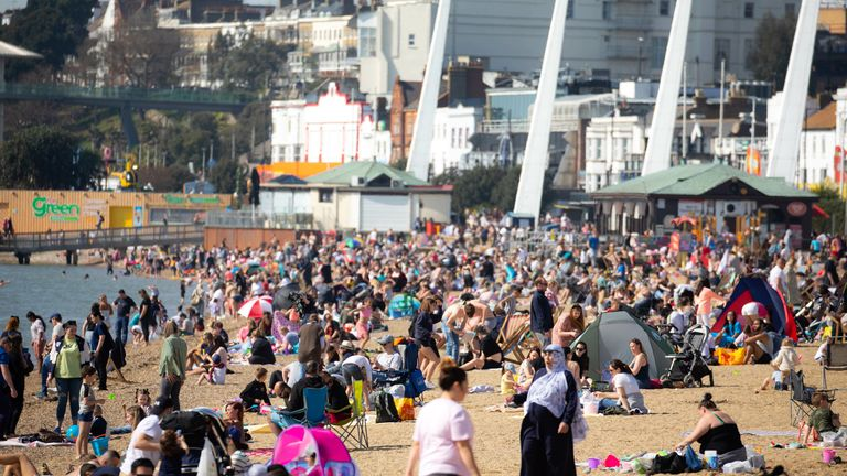 Crowds enjoy the sun at Southend-on-Sea. Pic: David Parry/Shutterstock