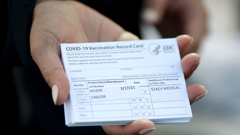 A US vaccination card