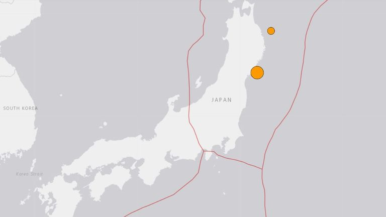 A USGS image showing the location of the earthquake off the east coast of Japan