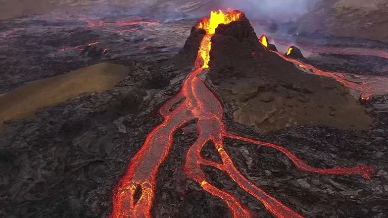 iceland volcano  Iceland volcano's spectacular lava show captured by drone