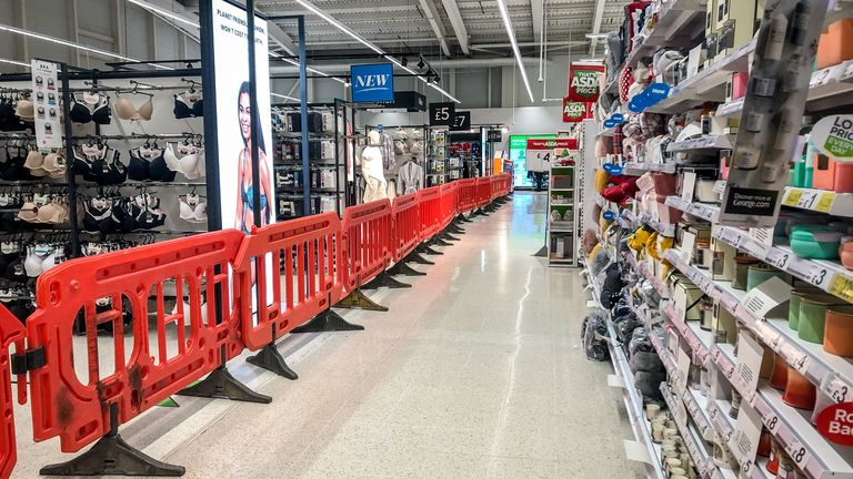 Non-essential aisles have been fenced off for months in Welsh supermarkets