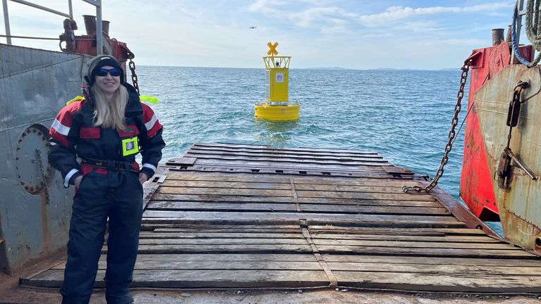 Emer with the buoy behind her after launch