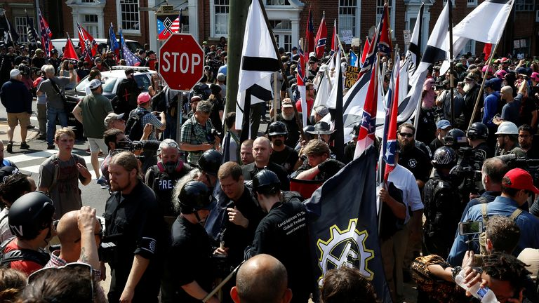 White supremacists rally in Charlottesville, Virginia, U.S., August 12, 2017