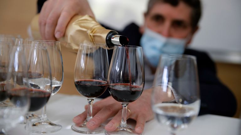 A blind tasting of the wine was held in southwestern France