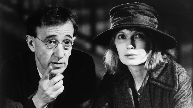 Woody Allen and Mia Farrow in Shadows And Fog. Pic: Metro-Goldwyn-Mayer Pictures/Sky UK