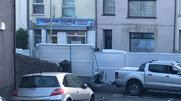 Barriers at the scene in the village of Ynyswen in Treorchy, Rhondda after a serious incident. Picture date: Friday March 5, 2021.