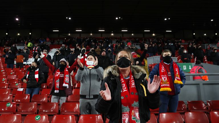 Limited number of Liverpool fans at Anfield
