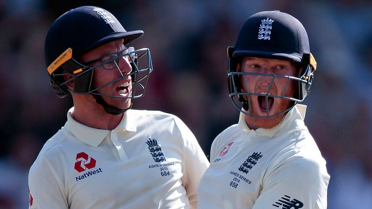 AP Newsroom - England's Ben Stokes, right, with Jack Leach celebrates after scoring the winning runs on the fourth day of the 3rd Ashes Test cricket match between England and Australia at Headingley cricket ground in Leeds, England, Sunday, Aug. 25, 2019. (AP Photo/Jon Super) (AP Photo/Jon Super)