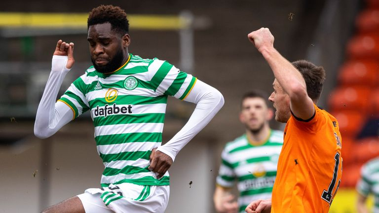 Odsonne Edouard rides a challenge from Ryan Edwards