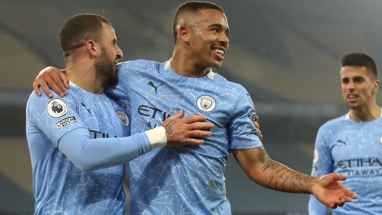 Gabriel Jesus celebrates after putting Man City 2-1 up against Wolves