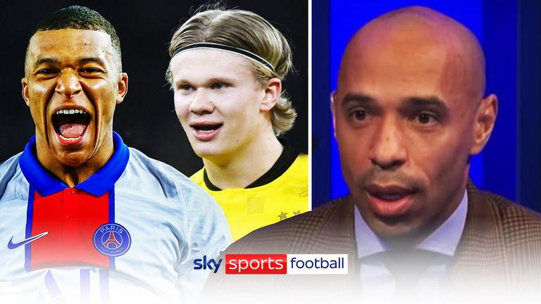 Thierry Henry and Jamie Carragher debate whether Kylian Mbappé or Erling Haaland would be the best replacement for Sergio Aguero at Manchester City