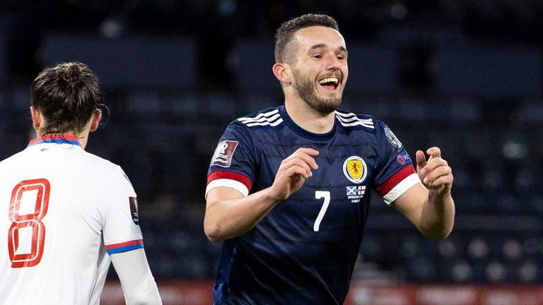 GLASGOW, SCOTLAND - MARCH 31: Scotland's John McGinn celebrates after scoring to make it 1-0 during a World Cup qualifier between Scotland and the Faroe Islands at Hampden Park, on March 31, 2021, in Glasgow, Scotland. (Photo by Craig Williamson / SNS Group)