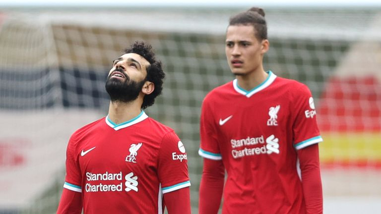 Mohamed Salah and Rhys Williams react after Fulham take the lead at Anfield (AP)