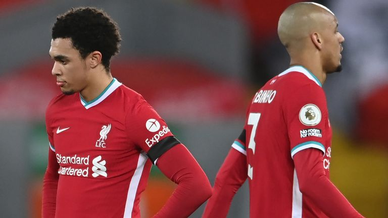 Trent Alexander-Arnold and Fabinho during Liverpool's defeat to Chelsea