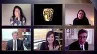 Mollye Asher, Dan Janvey, Frances Mcdormand, Peter Spears, Chloe Zhao - Best Film - Nomadland. Pic: BAFTA