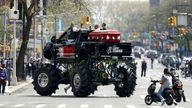The casket of US rapper is seen on a monster truck outside the Barclays Center where a private memorial for US rapper DMX is being held in Brooklyn, New York, USA, 24 April 2021. JASON SZENES/EPA-EFE/Shutterstock
