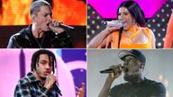 Clockwise from top left: Eminem, Cardi B, Stormzy, AJ Tracey. Pics: Reuters/PA/Anthony Harvey/Shutterstock