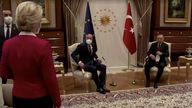 European Commission President Ursula von der Leyen sidelined as European Council President Michel and Turkish President Erdogan take seats in Ankara