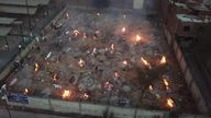 An crematorium in Delhi cremating people who have died with coronavirus
