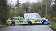 PSNI vehicles block the road in Dungiven, County Londonderry