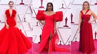 Oscars fashion: Amanda Seyfried, Angela Bassett, Reese Witherspoon, Halle Berry, Emerald Fennell and Regina King at the Oscars on Sunday, April 25, 2021, at Union Station in Los Angeles. (AP Photo/Chris Pizzello, Pool)