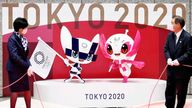 The mascots for the Tokyo Olympic Games, Miraitowa (L) and Someity are unveiled