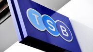 TSB logo on a branch in Baker Street, London on the bank's first day of trading, launched by Lloyds Banking Group, 9/9/2013