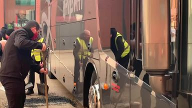 Real Madrid bus damaged outside Anfield