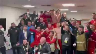 North Macedonia celebrate victory over Germany