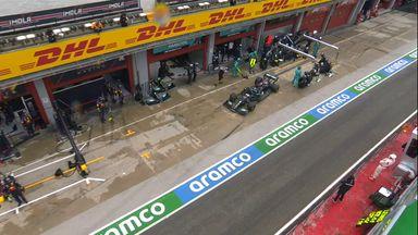Slow pit-stop for Hamilton