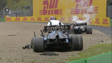 Huge crash for Russell & Bottas!