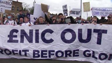 Spurs fans protest outside stadium