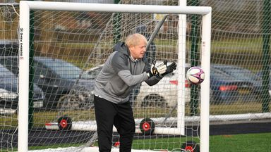 Boris Johnson tries his hand in goal during the 2019 general election campaign