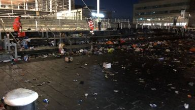 Cardiff bay before the council cleared up litter left by revellers on Good Friday. Pic: @cardiffcouncil