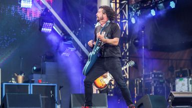 Dave Grohl of the Foo Fighters performs at Pilgrimage Music and Cultural Festival at The Park at Harlinsdale on Sunday, September 22, 2019, in Franklin, Tenn. (Photo by Al Wagner/Invision/AP).